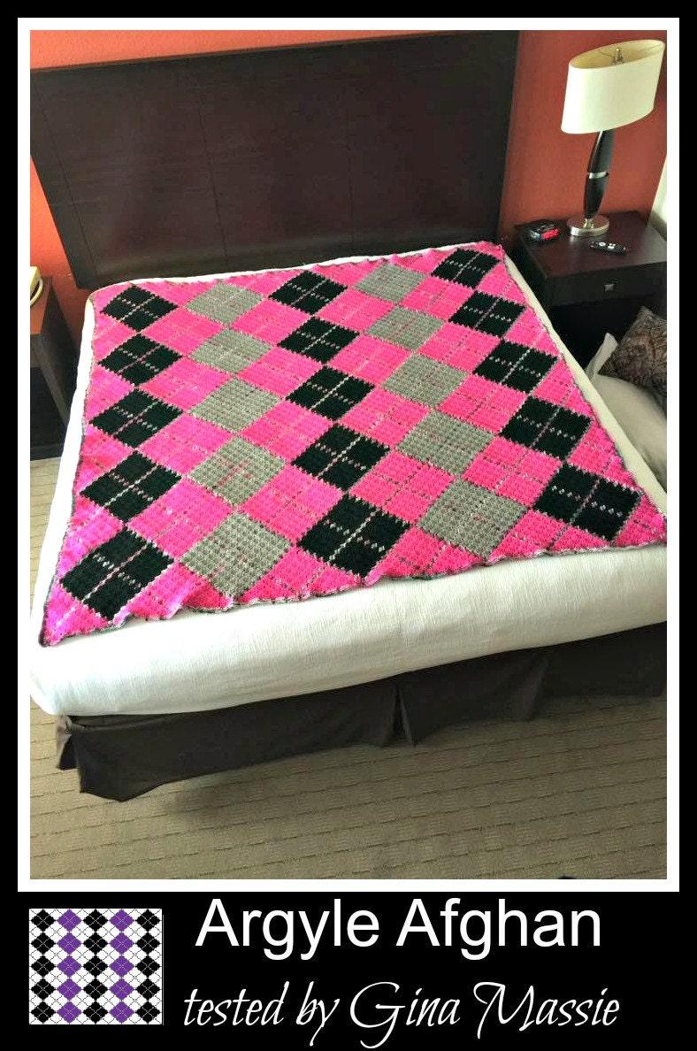 Argyle Crochet Afghan Pattern : C2C Graph Argyle Queen Size C2C Graph with Word Chart