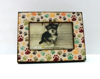 5x7 5x5 4x6 dog paw photo frame multi color pet frame dog print picture frame dog lover gift dog photo frame personalized optional