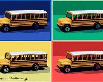 School Bus Art, Primary Color Print, Wall Art, Home Decor, Child's Room Art, Photography, Art for Kids, Classroom Art, 16 x 24, Large Art