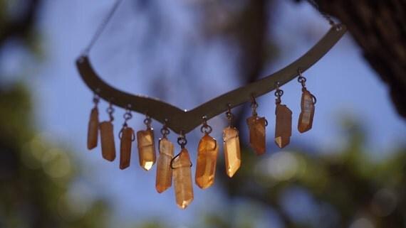 Aura Orange Quartz Crystal Point, Large Raw Brass Collar Chandelier Bib Necklace