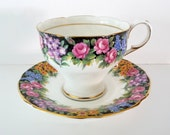 Vintage Paragon Tea Cup and Saucer By Appointment Old English Garden - Gold Guilt - English Fine Bone - Made in England