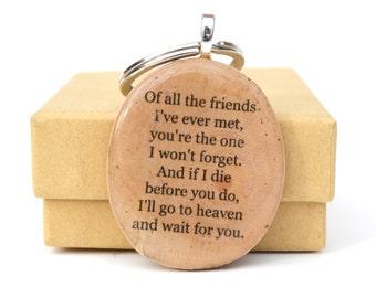 Best Friend keychain Best friend gift. Gift for women. going away gift. wood keychain. graduation gift.