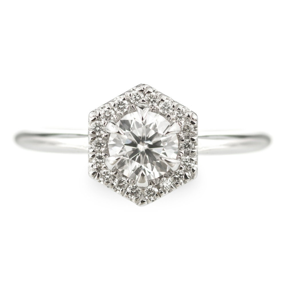 Half Carat Diamond Hexagon Halo Engagement Ring 14k White