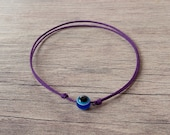 Evil Eye Purple String Bracelet. Blue Evil Eye. Couple Love. Valentines Day Gift. Best Friend, Bridesmaid Gift. WISH STRING Bracelet, Lucky