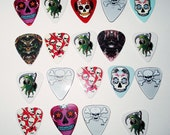 Guitar Picks Graphic Skulls for Jewelry Making and Crafts 19 Crossbones, Grim Reaper. Sugar Skulls