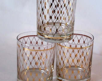 3 Georges Briard Signed 22kt Gold Diamond Embellished Old Fashioned Glasses