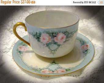 20% CIJ  Germany Teacup And Saucer-Pink Roses, Early 1900's Hand Painted