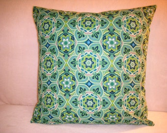 Blue Pillow Cover Floral Green White Cream Flowers Boho Bohemian Gypsy Shabby Chic French Country English Cottage