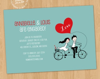 Tandem Bike Lovers Engagement Party Invitation Digital Printable ANY color ANY wording (printed cards available)