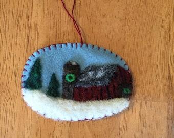 Barn Scene Needle Felted Christmas Ornament