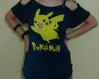 Pikachu Shredded T shirt One Of A Kind