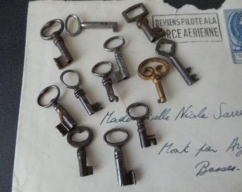 12 antique tiny skeleton keys.