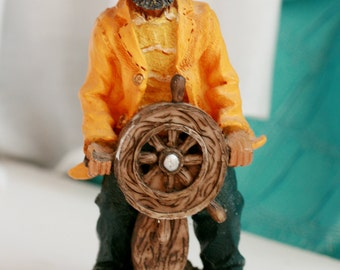 Wood Sea Captain With Wheel, Carved Wooden Ship Captain, Nautical Decor.