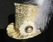 Gold Brocade Mad Hatter Mini Top Hat for Dress Up, Birthday, Tea Party or Photo Prop