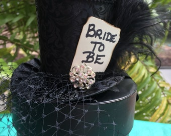 Black Brocade Mini Top Hat With Birdcage Veil for Bridal Shower, Bachelorette Party , Birthday, Tea Party or Photo Prop