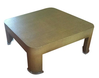 Large grasscloth and lucite coffee table after Karl Springer