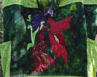 Tote Bag, Quilted Applique Fairy Tote, Fantasy Art