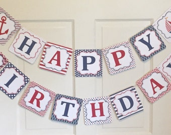 PREPPY NAUTICAL Birthday Party or Baby Shower Party Banner Red Navy Blue - Party Packs Available