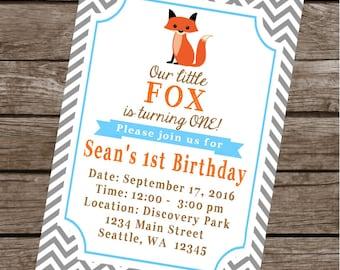 LITTLE  FOX Happy Birthday Party or Baby Shower Invitations Set of 12 {1 Dozen}