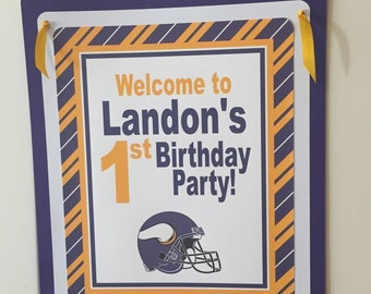 MINNESOTA VIKINGS FOOTBALL Happy Birthday or Baby Shower Door or Welcome Sign - Purple Gold - Party Packs Available