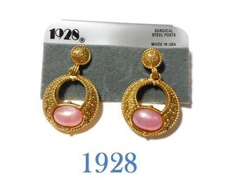 1928 pink earrings, hoop dangle earrings with faux pearl opalescence cabochon, gold pierced earrings, new old stock (NOS) on card