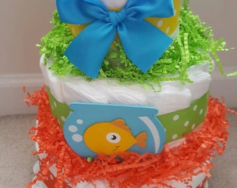 3 tier Fish diaper cake, baby shower decoration, colorful centerpiece