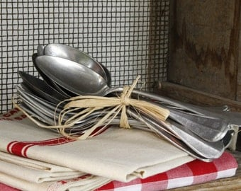 Vintage French Bistro Aluminium Cutlery...Canteen Cutlery...Bundles of TEN Spoons and TEN Forks...Flatware...Bargain!