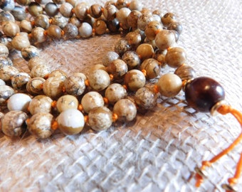 Picture Jasper Knotted Mala 108 Beads