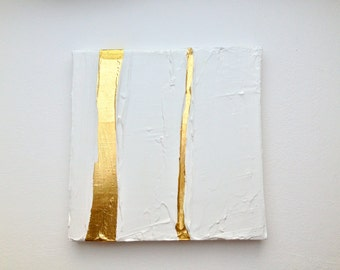 Modern contemporary gold white painting on canvas G10