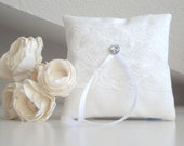White wedding pillow, bridal pillow, ring bearer cushion with cotton lace decoration