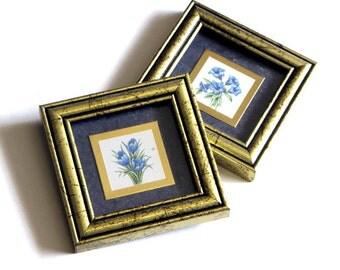 Kathy Seek Framed Blue Crocus and Gentian Flower Print Set Heartfelt Collection Antiqued Gold Vintage Home Decor