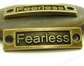 4 Fearless Curved Connectors Antique Bronze Tone Metal - 35x10mm - Rectangle Bar Connectors, Bracelet Links - BA23