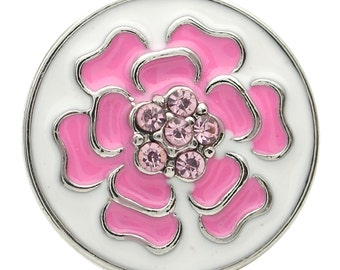 1 PC 18MM Pink Enamel Flower Rhinestone Silver Candy Snap Charm kb7122 CC1722