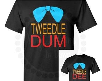 Tweedle Dee & Tweedle Dum Disney Inspired Alice In Wonderland T-Shirts