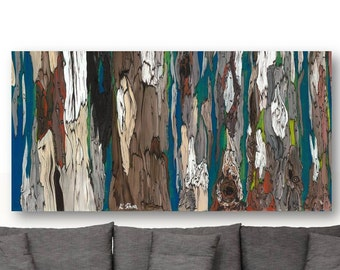 Extra large wall art Print long tree art huge canvas dining room Blue Gray brown Abstract Landscape living dining room bedroom Artwork