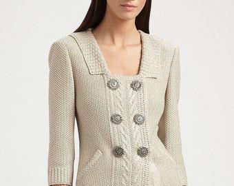 Cardigan knit.Hand knit cardigan, knit cardigan, Sweater, Women's sweater, Hand Knit Sweater Cotton