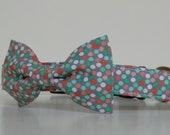 Mint Green Gray Pink Polka Dot Bow Tie Dog Collar Wedding Accessories Made to Order