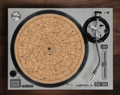 Turntable Slipmat - Star Chart engraved Cork turntable mat with Reversable fabric Back