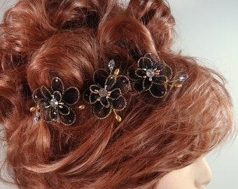 Wedding Hair Flowers, Mini Hair Flowers, Black Gold Hair Pins, Set of 3, REX16-402