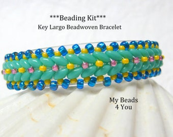 Beadwork KIT, Beaded Bracelet Pattern, Beadweaving Tutorial, Pattern, Seed Bead Tutorial, Superduo Bracelet Pattern, Beading Kit, Superduo