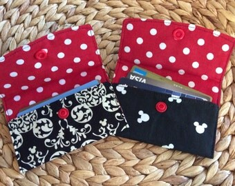Mickey Mouse Wallet - Disney Pass Holder - Credit Card Holder - Small Snap Wallet - Kid's Fabric Wallet - Travel Wallet - Disney Cruise