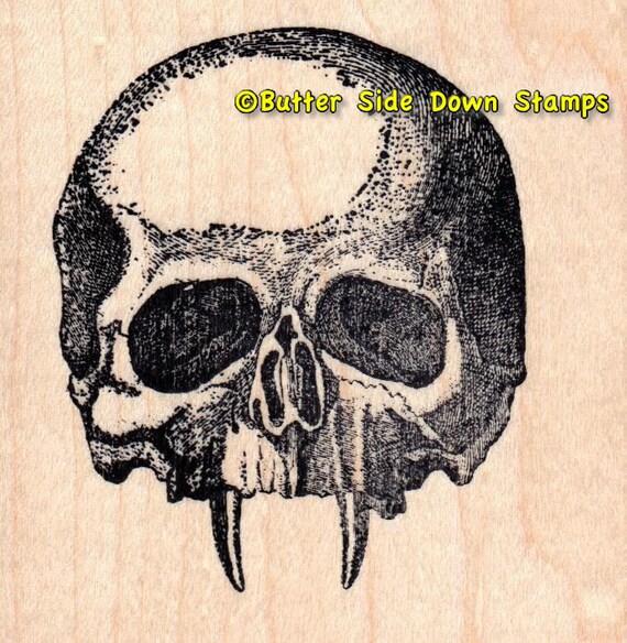 Vampire Skull Rubber Stamp