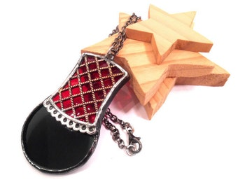 Stained Glass Jewelry Gothic Red and Black Pendant Glass and Metal Jewelry Handmade Necklace Gothic Pendant Necklace Black Red Glass Jewelry