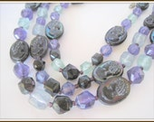 Black Cameo Amethyst Bead Necklace - Lucite 3 Strand - Signed W. Germany