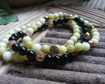 Gemstone Boho Stretch Bracelets with Peridot Jasper and Black Obsidian, Stackable Jewelry, Gemstone Bracelets