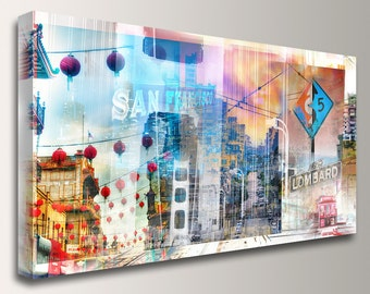 "San Francisco Skyline, San Francisco Art - Cityscape, Canvas Print, Panorama size up to 3x6, City Skyline Collage - "" California Dreaming """