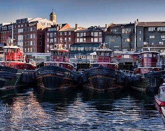 Metal Print - Tugboats in Portsmouth Harbor NH - Choose Size