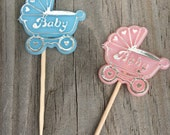 """Set of 12 - Pink or Blue Baby Carriage/Buggy """"Baby"""" Party Food Picks - Boy/Girl/Gender Reveal/Twins - Decorations/Favors  - Baby Shower"""