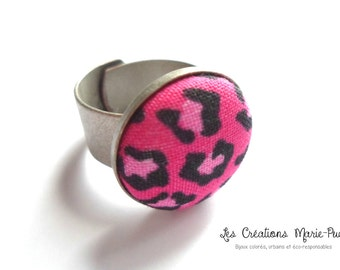 Adjustable Ring, Metal Ring, Antique Silver Ring, Pink Ring, Black Ring, Fabric Button Ring, Modern Ring, Modern Jewelry, Gift For Her