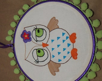 Owl Embroidery Hoop Art